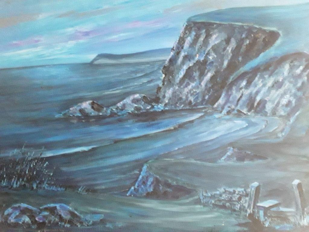 An original oil on canvas of a Cornish beach by G. Grogan
