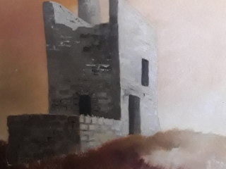 Cornish Mine Engine House.An original oil painting by Tony Shorthouse 1978