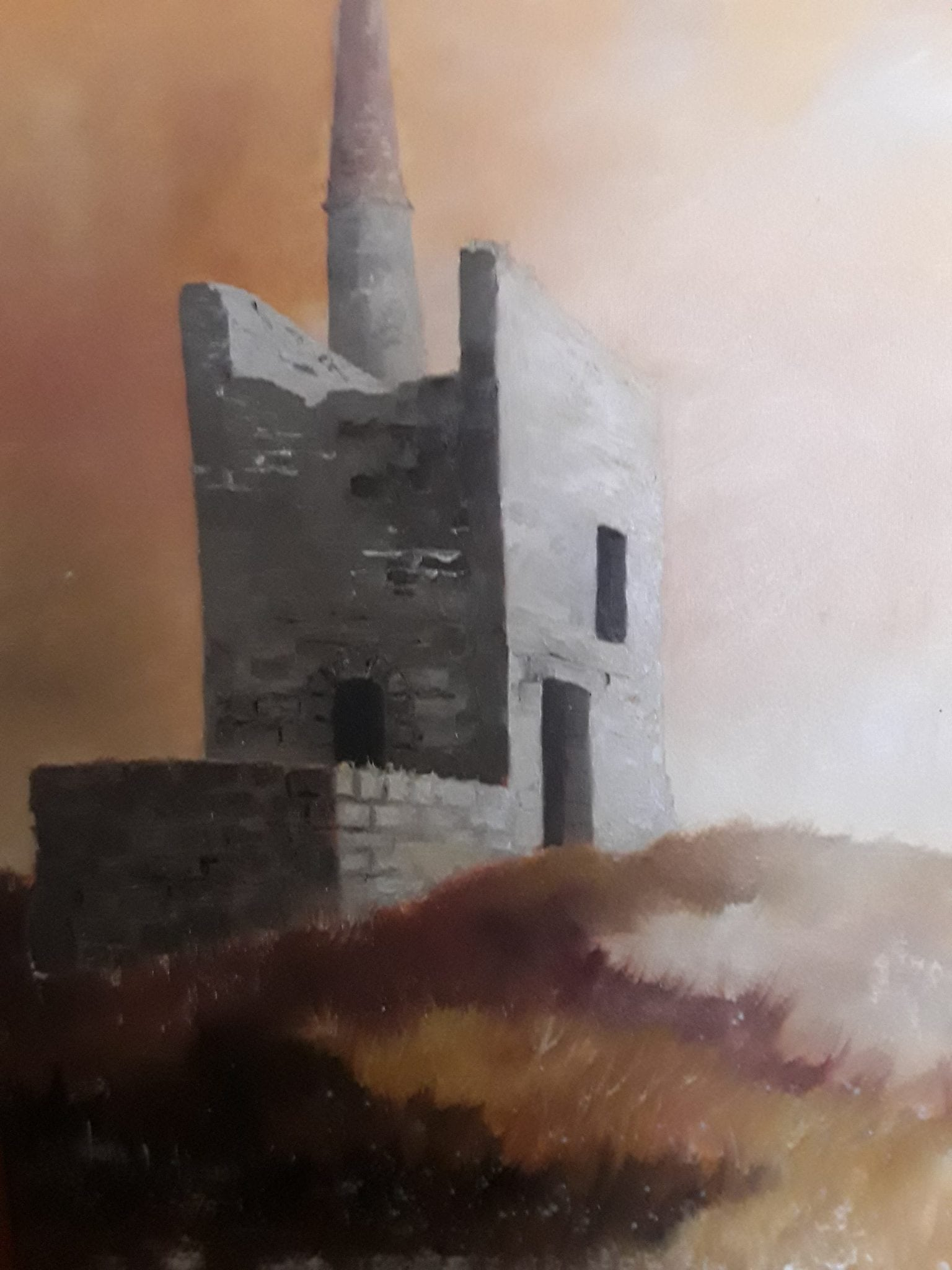 Cornish Mine Engine House.An original oil painting by Tony Shorthouse 1978