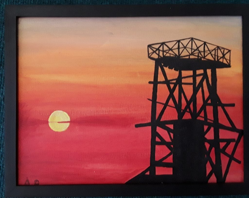 South crofty tin mine at sunset
