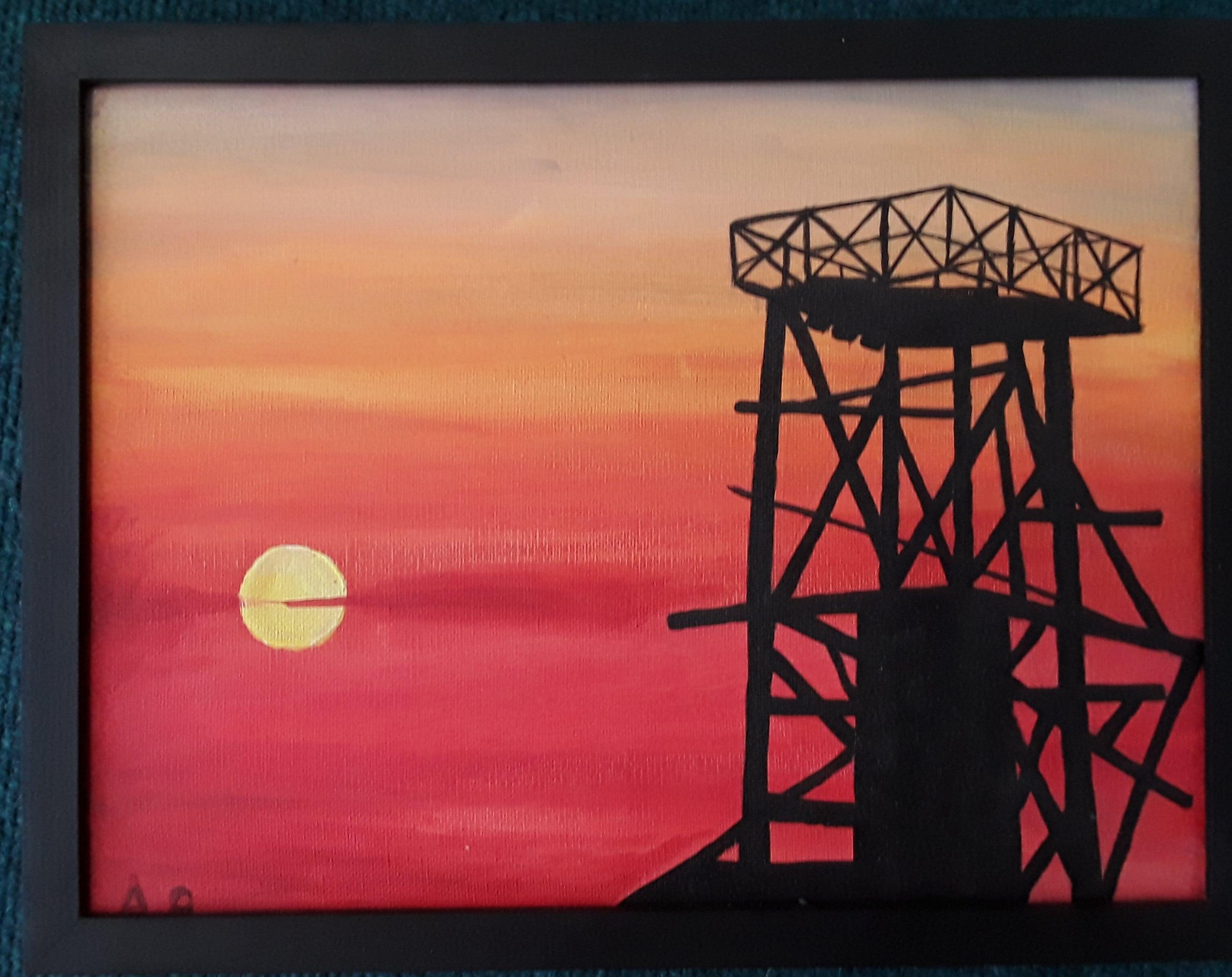 South crofty tin mine at sunset