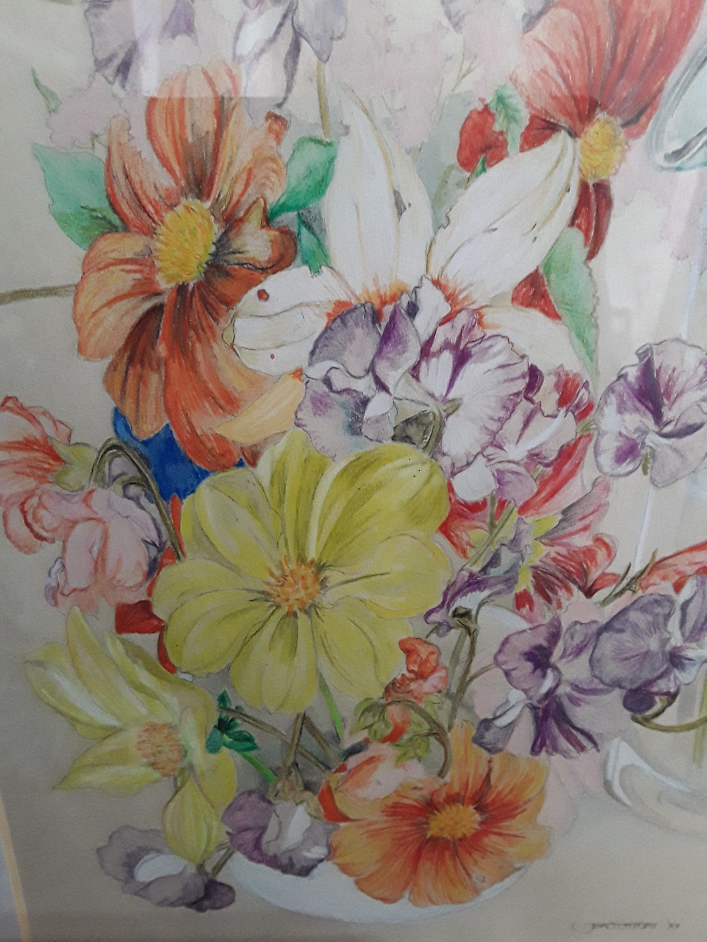 An original watercolour of summer flowers in a white vase
