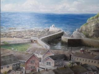 Portreath Harbour An original oil painting by local artist L Hammett