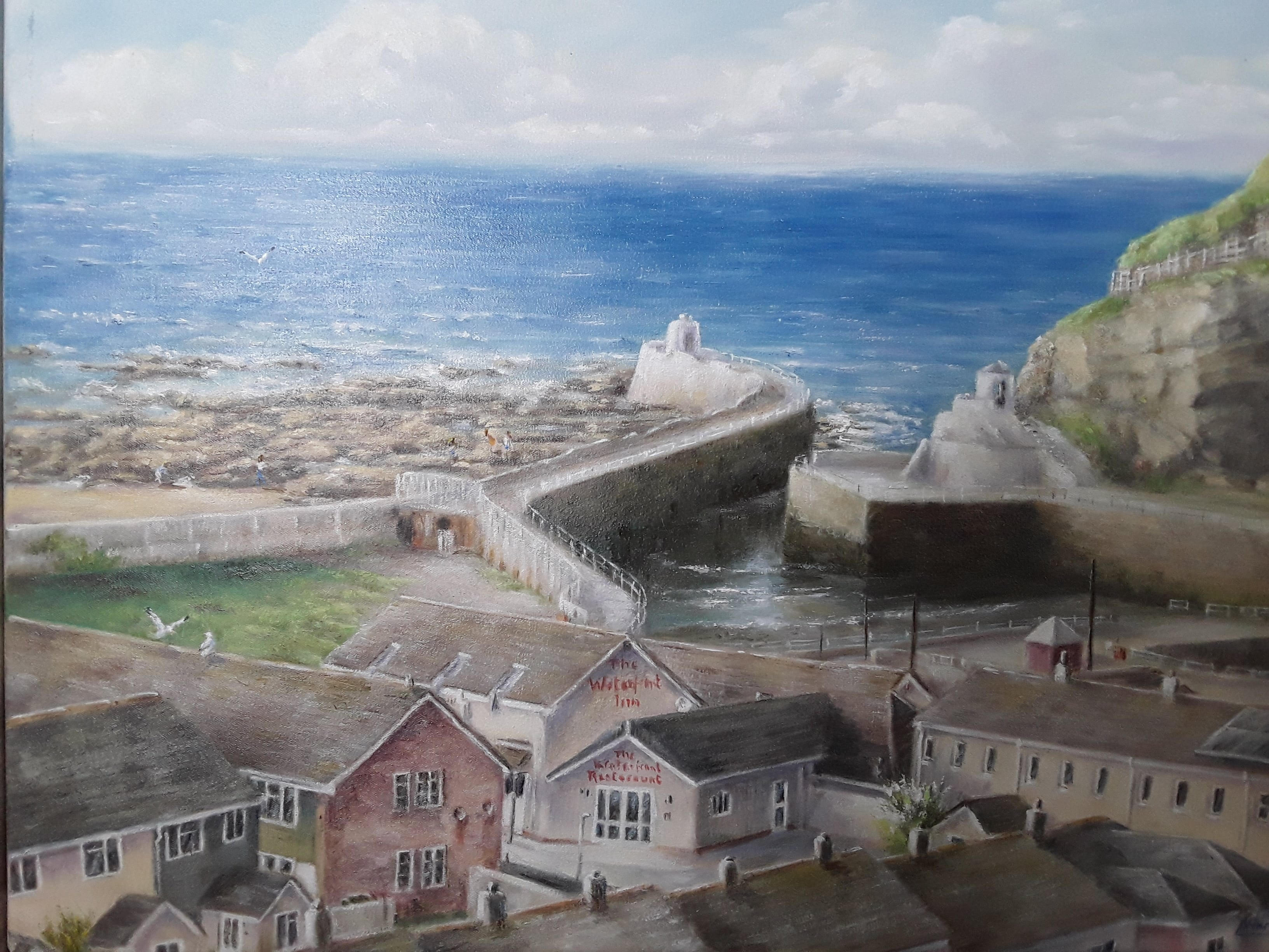 Portreath Harbour An original oil painting by local artist L Hammett