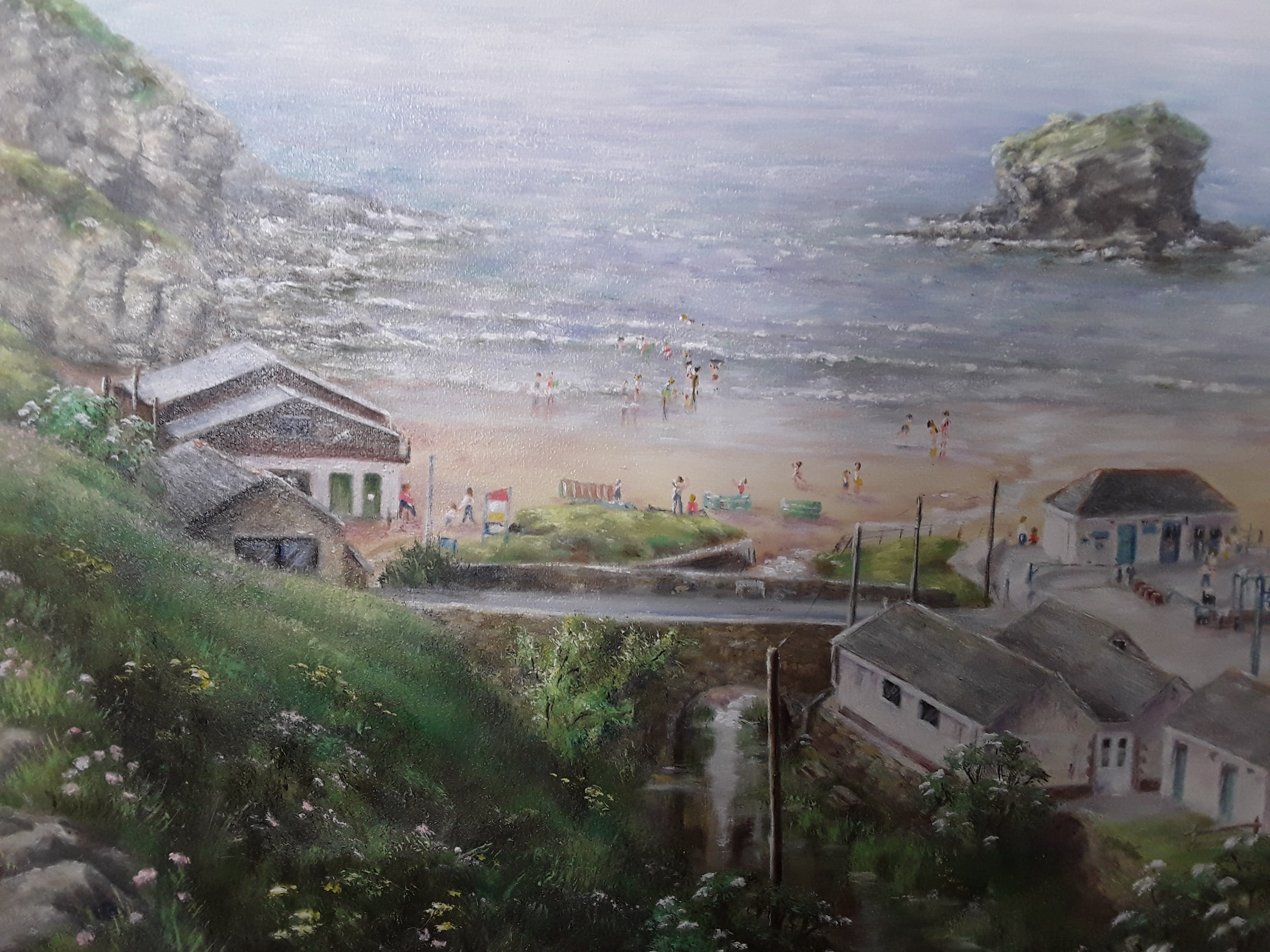 Gull Rock Portreath An original oil painting by L Hammett