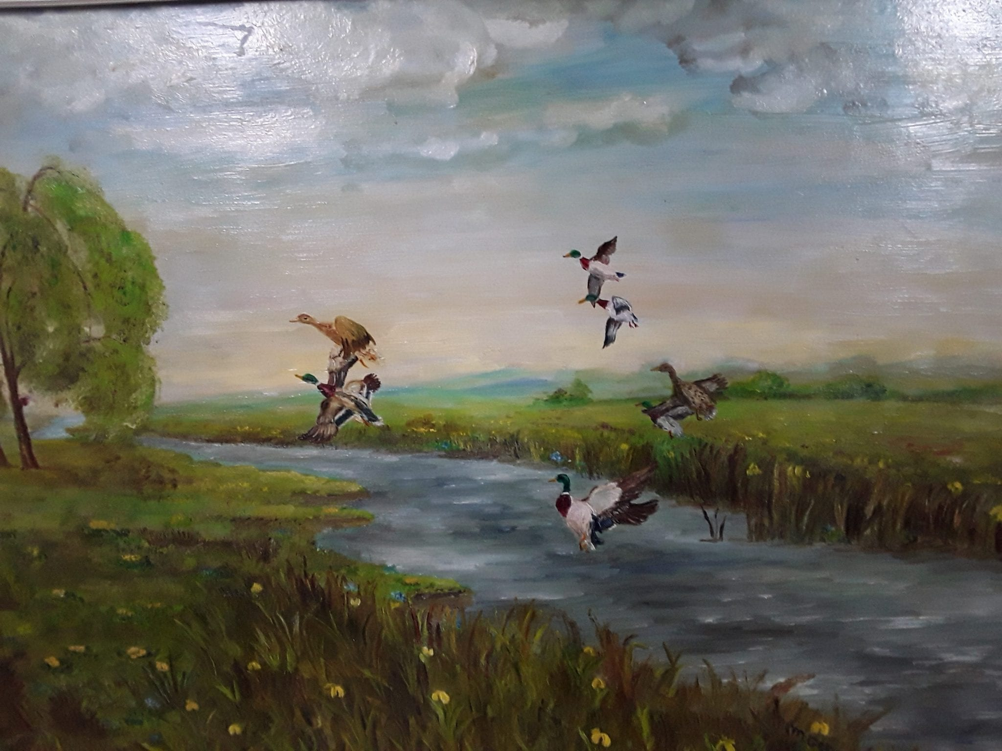 Oil painting featuring ducks
