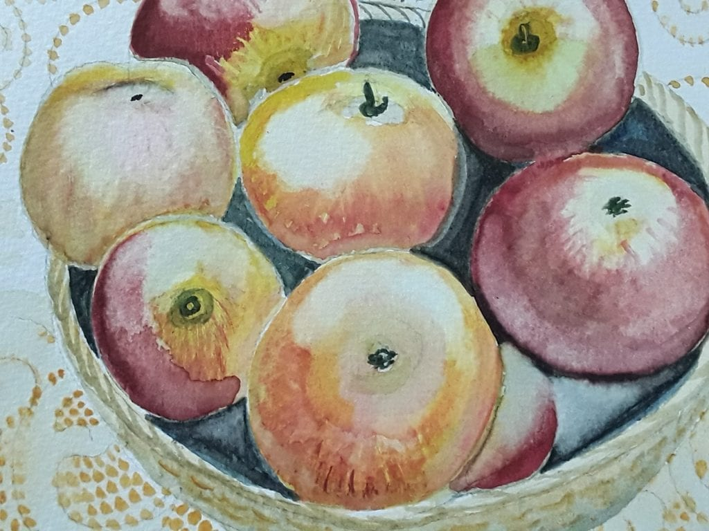 Apples in watercolour