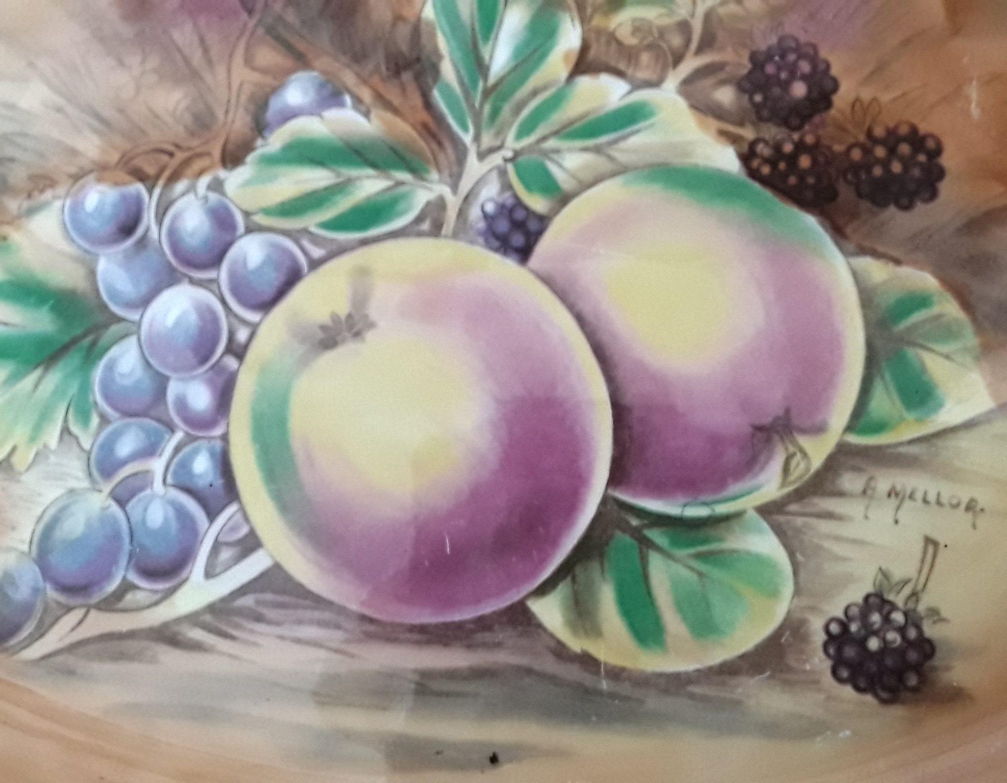 Ceramic platter with autumn fruit