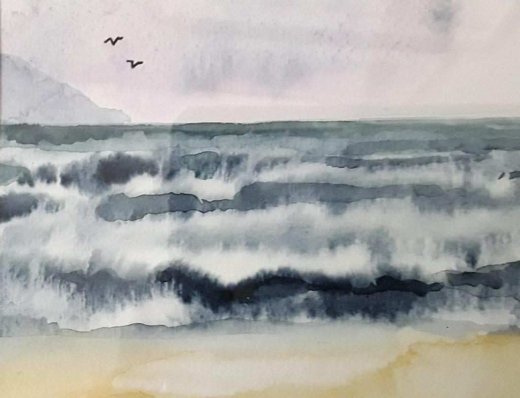 Cornish beach watercolour