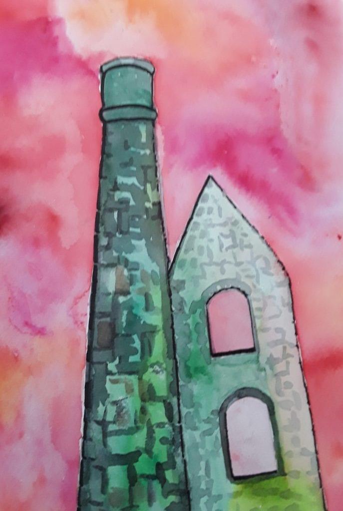 Cornish Mine Engine House. An original watercolour